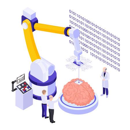 Brain Implants Technologies Isometric Composition