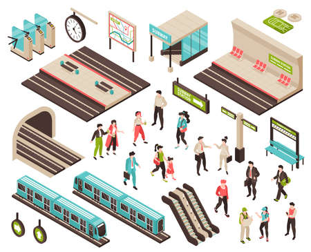 Isometric Subway Constructor Set Illustration