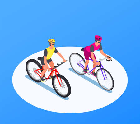 People On Bicycles Isometric Background