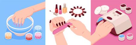 Manicure Isometric Design Concept Vector Illustratie