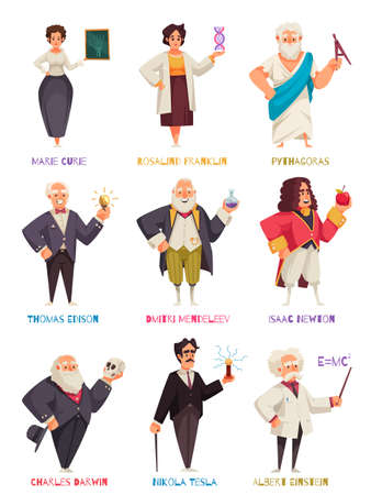 Famous Scientists Characters Set