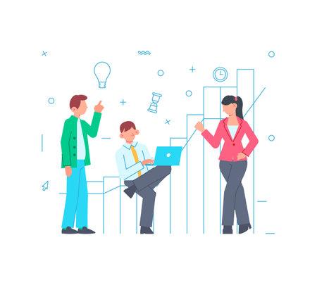 Flat Team Work Concept
