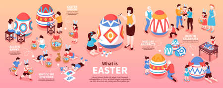Easter Isometric Infographics