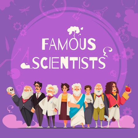 Famous Scientists Square Composition Vettoriali