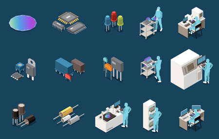 Semiconductor Production Icon Set