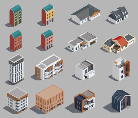 Suburban Buildings Icon Set