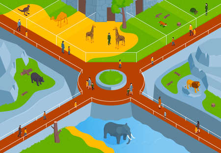 Isometric Zoo Park Composition