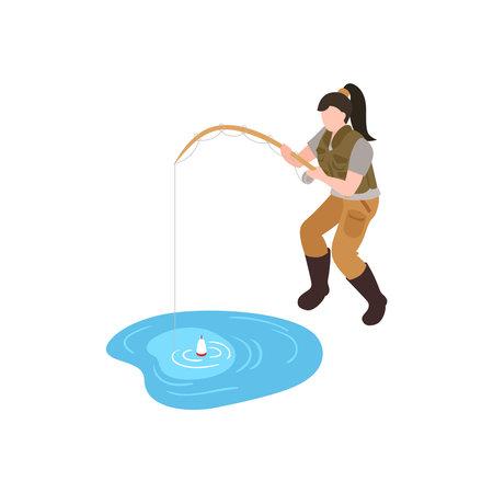 Fishing Isometric Illustration