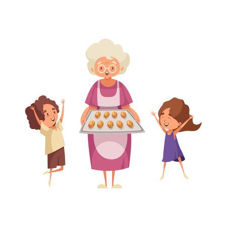 Grandma Flat Illustration Vektorgrafik