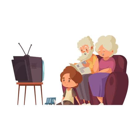 Grandparents Flat Illustration