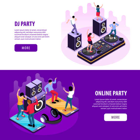 Online DJ Party Banners  イラスト・ベクター素材