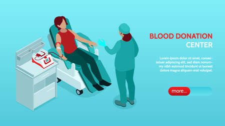 Blood Donor Isometric Banner