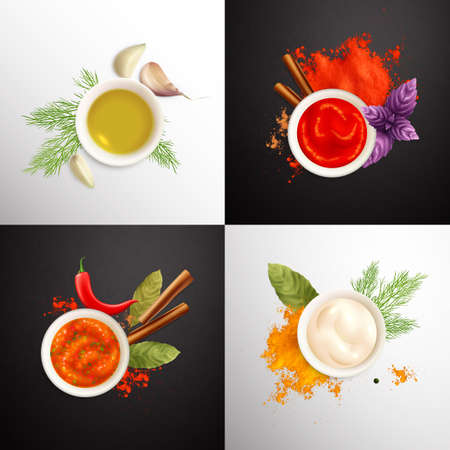 Spices And Herbs 2x2 Design Concept