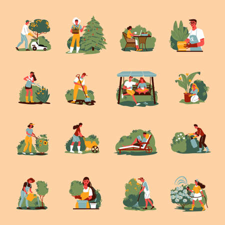 Gardening Color Icons Collection