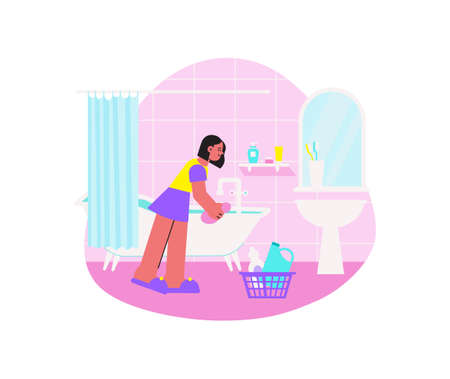 Bathroom Cleanup Flat Composition