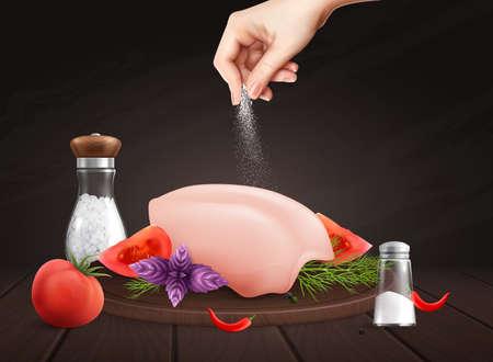 Salt On Meat Composition Illusztráció