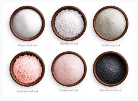 Salt Types Realistic Set Illusztráció