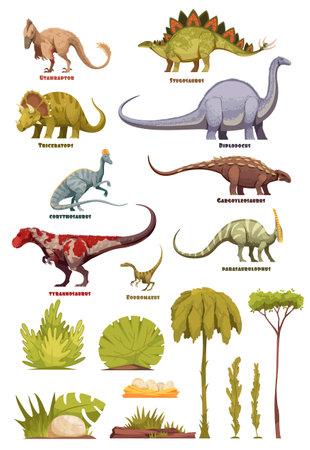 Dinosaurs And Flora Landscape Elements Vektoros illusztráció