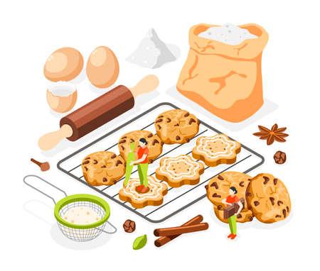Sweet Bakery Isometric Composition Illusztráció