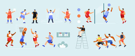 Sports Players Icons Collection Vetores