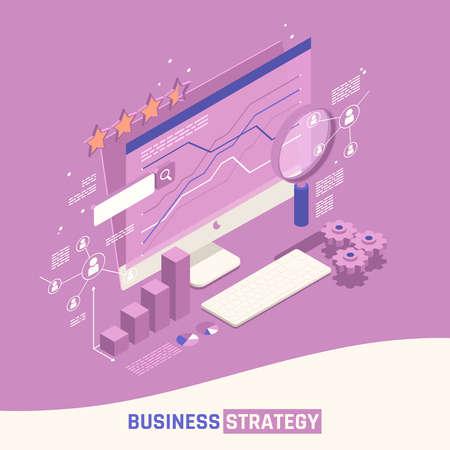 Business Strategy Isometric Concept Vecteurs