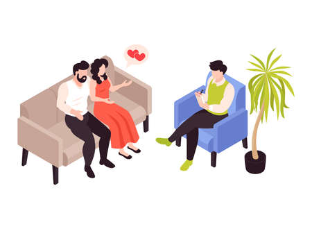 Couple Counselling Isometric Composition