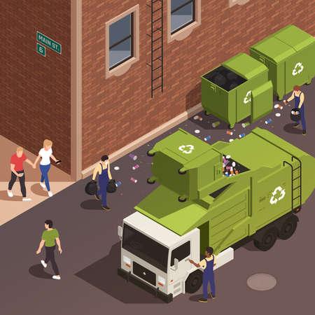 Garbage Removal Isometric Poster Vektorgrafik