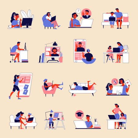 Distant Learning Icon Set