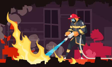 Cartoon Firefigher Illustration Vektorgrafik