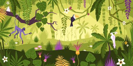 Jungle Rainforest Landscape Composition Ilustração Vetorial