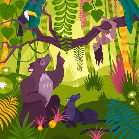 Mowgli Landscape Background Vektorové ilustrace