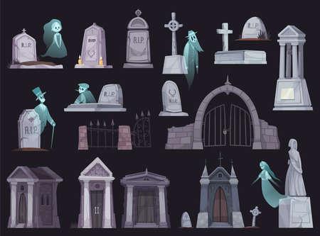 Cemetery Cartoon Set Vector Illustratie