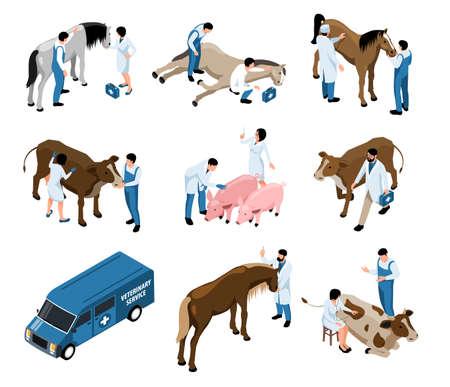 Farm Veterinary Isometric Set