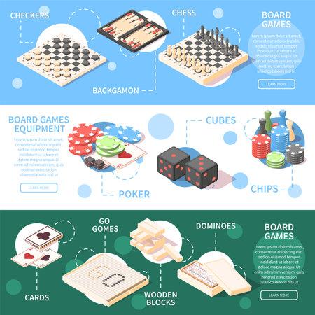 Board Games Isometric Banners Vecteurs