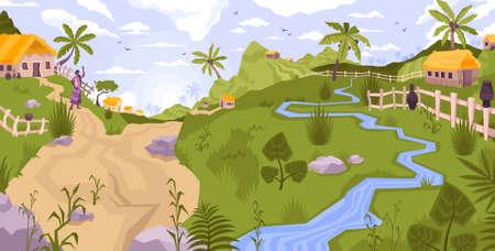 Illustration Village Flat Landscape Composition