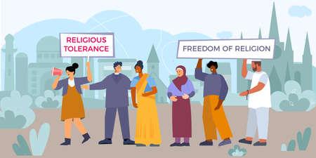 Religious Tolerance Flat Composition