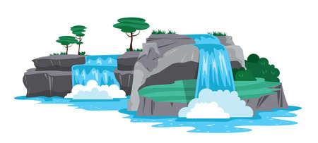 Waterfall Horizontal Illustration