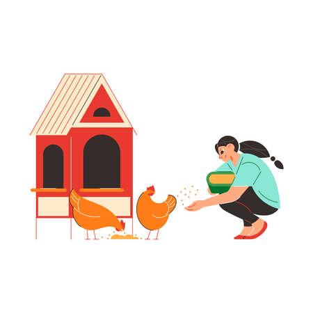 Hen House Works Composition Ilustración de vector