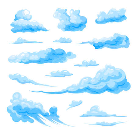 Sky Clouds Set On White Background