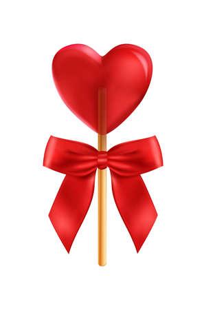 Realistic Heart Lollipop Composition