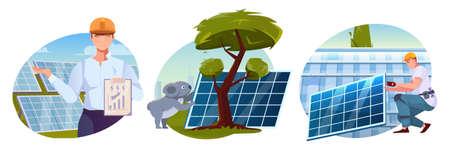 Solar Energy Flat Compositions Vector Illustratie