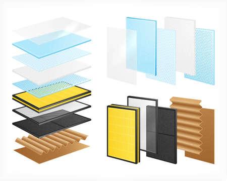 Laminated Materials Realistic Set illustration