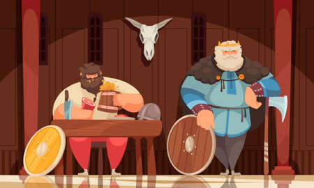 Viking Meal Cartoon Composition