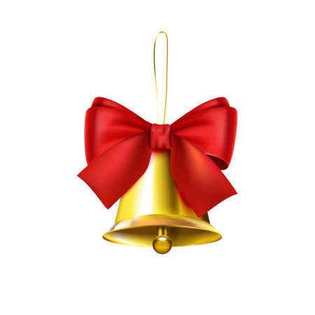 Realistic Christmas Bell Composition