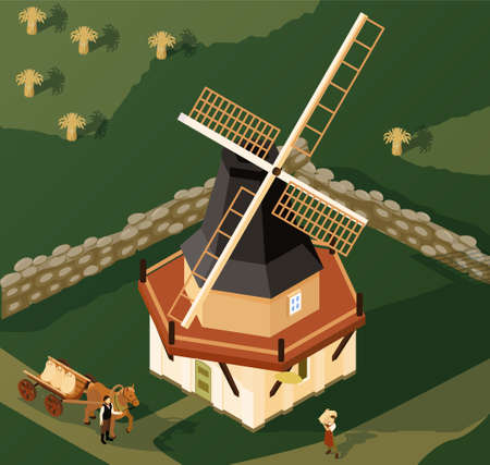 Windmills Isometric Composition