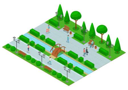 Landscape Design Park Isometric Composition Vektoros illusztráció