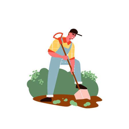 Gardening Works Digging Composition Ilustración de vector