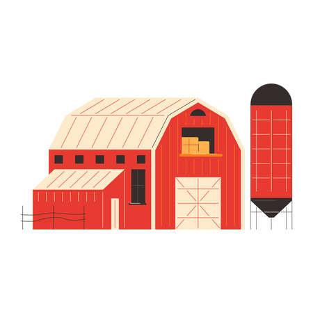 Agricultural Barn Farm Composition Векторная Иллюстрация