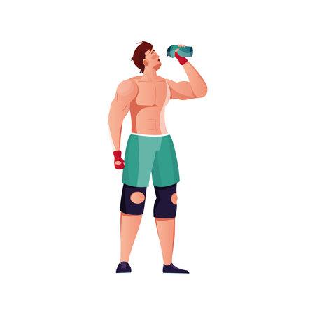 Bodybuilder Drinks Cocktail Composition Vector Illustratie