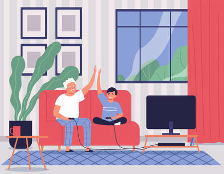 Grandfather With Grandson Illustration